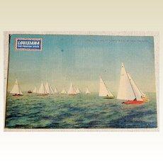 Vintage Lake Ponchartrain Star Sloop Races New Orleans Postcard