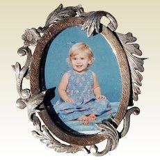 Wonderful Victorian  14K Gold &  Sterling Silver Photo Brooch