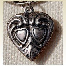 1940's Sterling Silver Puffy Heart Charm