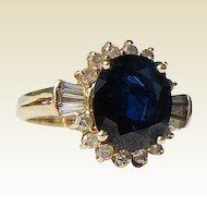 Vintage 14K Gold  4.56 Ct. Sapphire & Diamond Ring