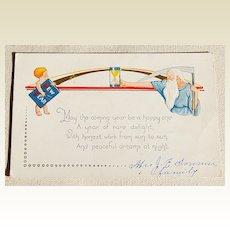 Art Deco Embossed  Happy New Year Postcard