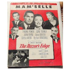 1947 Vintage Sheet Music Mam'Selle From The Razor's Edge