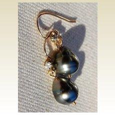 Vintage 14K Gold Black Tahitian Pearl & Diamond Earrings