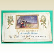 Vintage Embossed  1923 Christmas Postcard