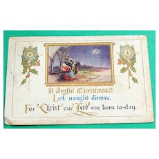 Vintage Embossed  1923 Christmas Postcard