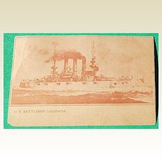 Vintage U. S. Battleship Louisiana Post Card