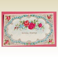 Vintage Embossed  Austrian Birthday Greetings Post Card Red Roses