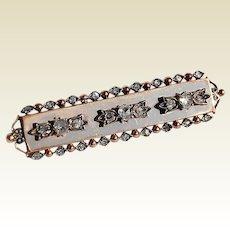 Wonderful Antique Edwardian 9K Rose Gold & Rose Cut Diamond 1.18 Carat Brooch