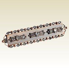 Wonderful Antique Edwardian 9K Rose Gold & Rose Cut Diamond 1.18 Carat Brooch