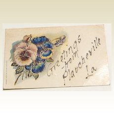 1907 Greetings From Plaucheville, Louisiana Glitter Embossed Postcard