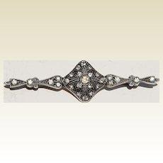 Art Deco Sterling Silver Paste Rhinestone Brooch