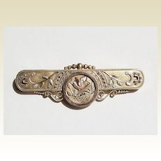 Large Victorian Gold Filled Brooch Bird Motif