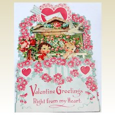 Large German Early Valentine Fold Out 3-D Die-Cut Valentine Card