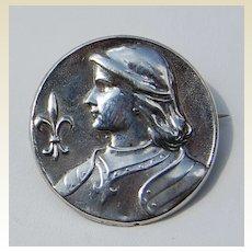 Art Nouveau Sterling Silver Joan Of Arc Brooch