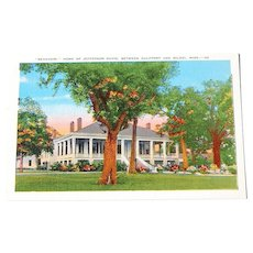 "Vintage "" Beauvoir "" Home of Jefferson Davis Postcard"