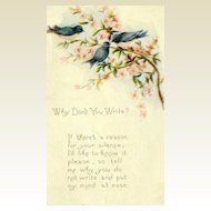 "Vintage ""Why Don't You Write?"" Postcard #B"