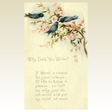 "Vintage ""Why Don't You Write?"" Postcard #B"