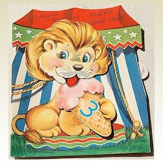 Vintage Mechanical Toy Happy Birthday Three Year Old Card
