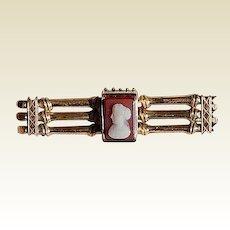 Victorian 10K Gold Cameo Bar Pin/Brooch