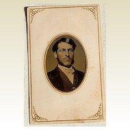 Victorian Antique Tin Type Photo Handsome Man