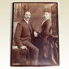 Victorian Antique Cabinet Photo Couple