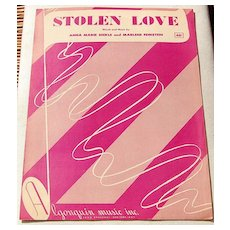 "1951 Vintage Sheet Music ""Stolen Love"""
