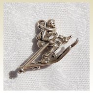 Vintage Sterling Silver Male Skier Charm