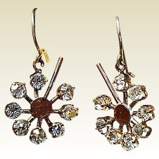 Victorian Gold Filled Sparkling Paste Earrings