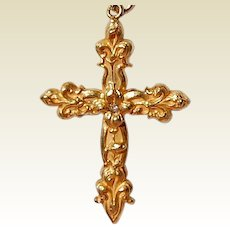 Art Nouveau Gold Filled Two Sided Repousse Floral Fleur D Lis Cross