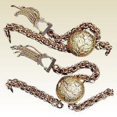 Fabulous Unusual Pair Gold Filled Brides Bracelets