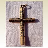 Vintage Gold Filled Rhinestone Paste Cross