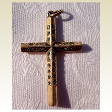 Vintage Gold Filled Rhinestone Paste Cross