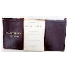 1899 Rare Bradstreet's Pocket Atlas of US Cuba Mexico & Canada