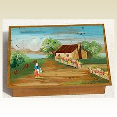 Lovely Vintage Handpainted  Metal Box