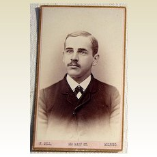 Victorian Antique Cabinet Photo Young Man Milford, Conn.