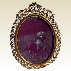 19th Century Ornate Filigree French Brass Photo Frame