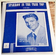 """1951 Vintage Sheet Music """"Sparrow In The Tree Top"""" Guy Mitchell"""