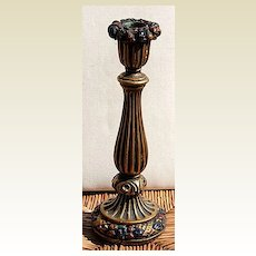 Art Deco Tall Barbola Ribbons & Fruit Candlestick