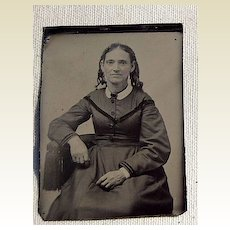 Larger Victorian Tin Type Young Woman