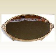 Vintage Oval Footed Dresser Tray Ribbon Bow Motif