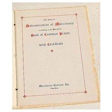 1938 The Marriage Service Solemnization Of Matrimony