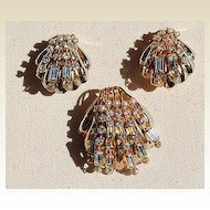 Vintage Gold Tone Metal Rhinestone & Faux Pearl Shell Motif Brooch & Clip Earrings