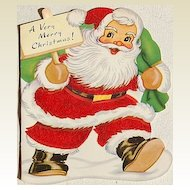 Vintage Flocked Santa Christmas Card