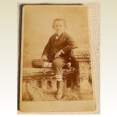 Victorian Antique Cabinet Photo Young Boy