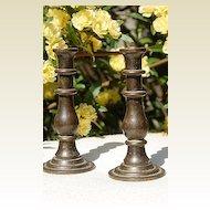 Pair Vintage English Peerage Brass Mini Candlesticks