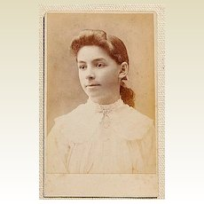 Victorian Antique Cabinet Photo Young Lady