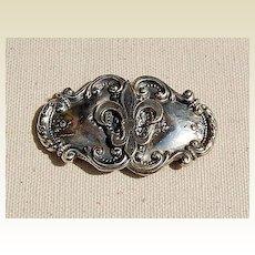 Vintage Sterling Silver Fleur D Lis Belt Buckle
