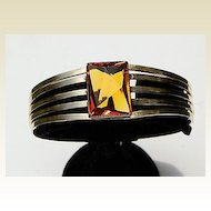 Vintage Gold Tone Metal & Topaz Paste Faceted Stone Bangle Bracelet