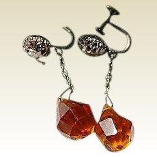 Czech Topaz Faceted Glass Screw Dangle Earrings