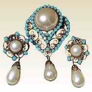 Vintage Faux Pearl & Glass Turquoise Brooch/Pendant & Clip Earring Demi Parure